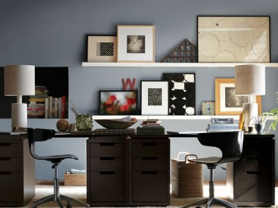 Modern and sleek work space via West Elm.