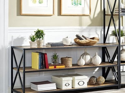 "Bookcase Augustus X-Frame Metal and Wood Media 26"" Etagere - from Trent Austin Design via Wayfair"