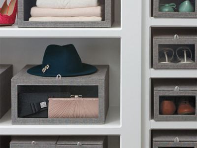 Grey Linen Closet Starter Kit - via The Container Store