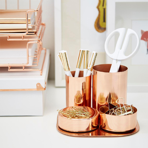 Copper Magnetic Desk Set - via The Container Store