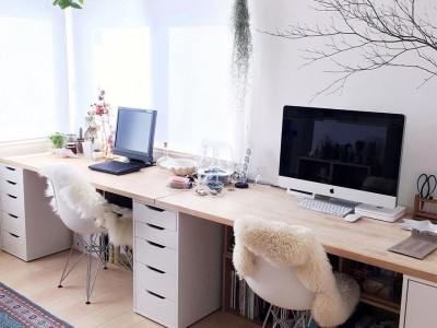 Home office with modern style via Room Clip