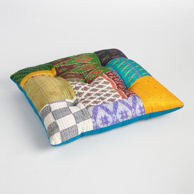 3 - Embroidered Sari Patchwork Floor Cushion via World Market