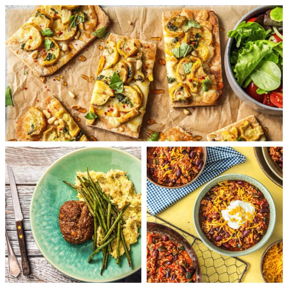 Squash flatbreads, meatloaf, and chili from hello fresh
