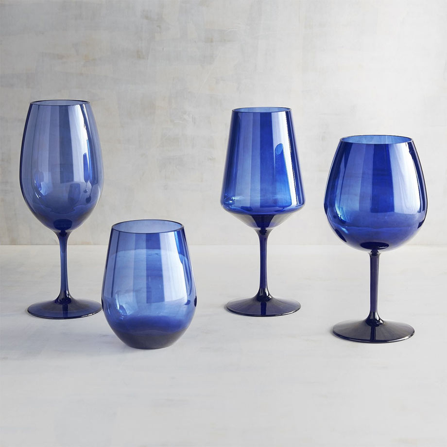 2 - Clarity Collection Blue Acrylic Stemware