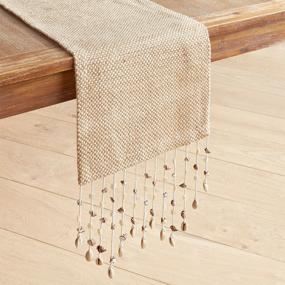 5 - Natural Jute Table Runner with Seashell Fringes