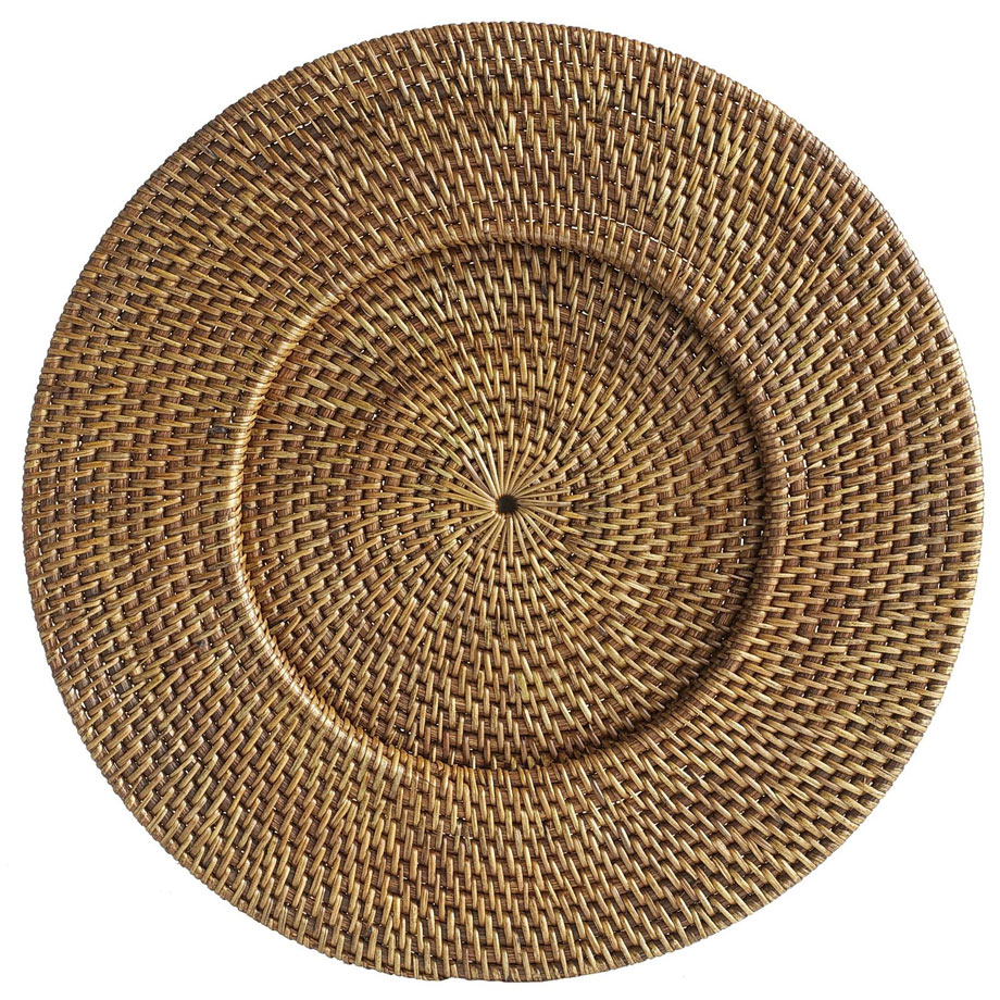 4 - Brown Rattan Round Charger Plate