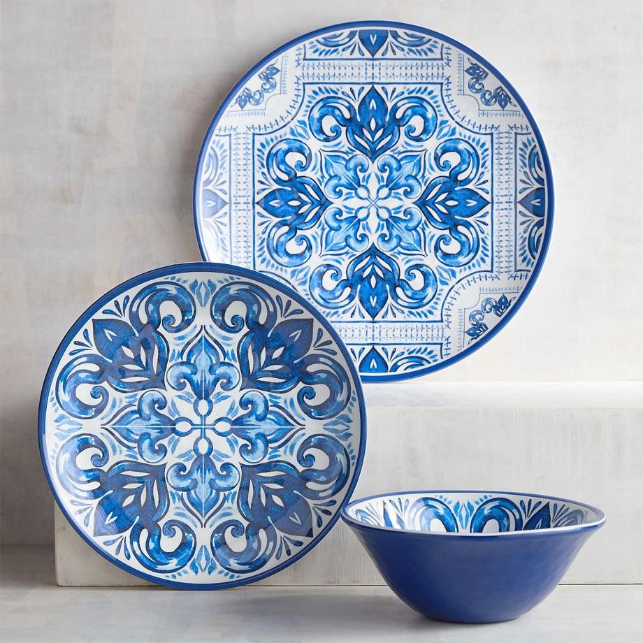 1 - Mykonos Tile Melamine Dinnerware