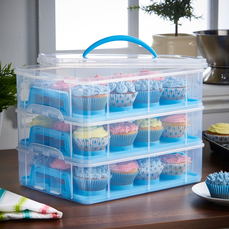 Cupcake transporter with compartments and handles.