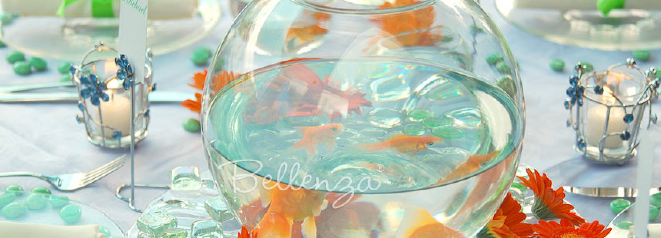 How to create a centerpiece using a fish bowl.