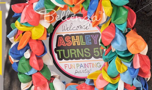 A Colorful DIY Balloon Wreath for a Birthday Party