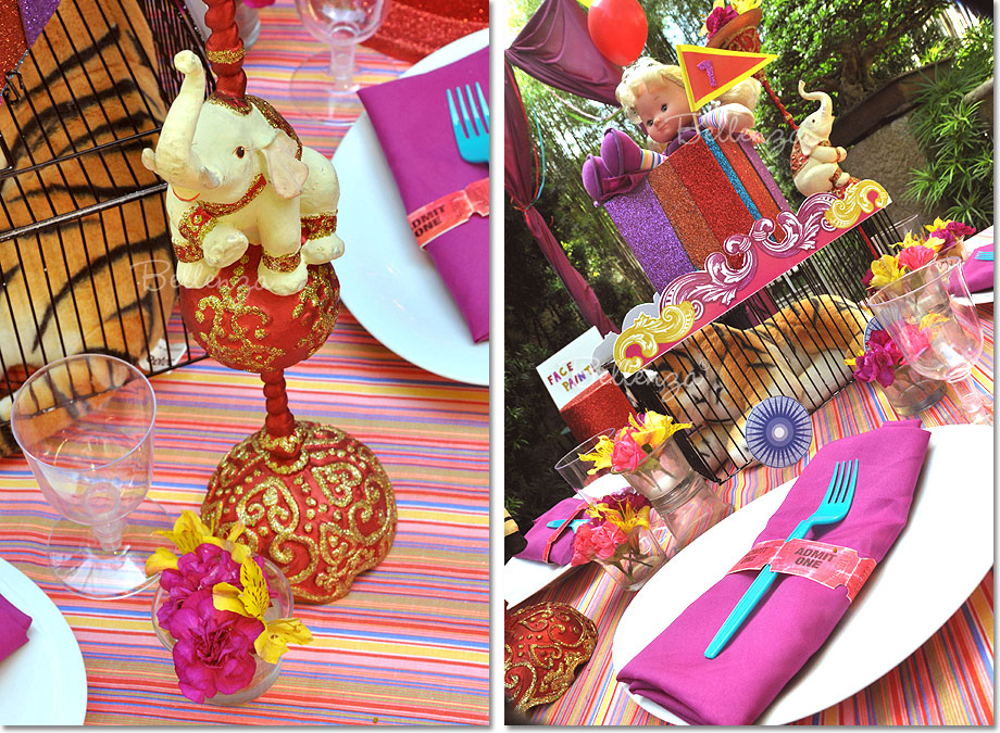 Circus Themed Table Decorations Part - 26: Ornate Wooden Figurines In The Shape Of A Carousel Horse And A Trained  Elephant. Decorating For A Circus Theme ...