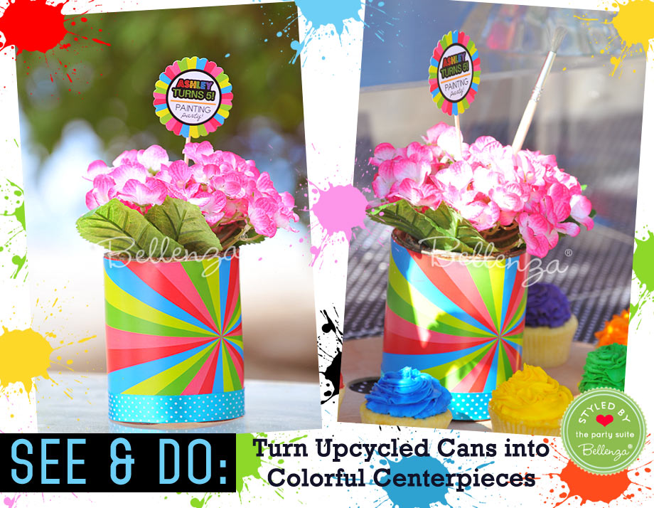 Upcycled Cans as Centerpieces for a Painting-themed Birthday Party