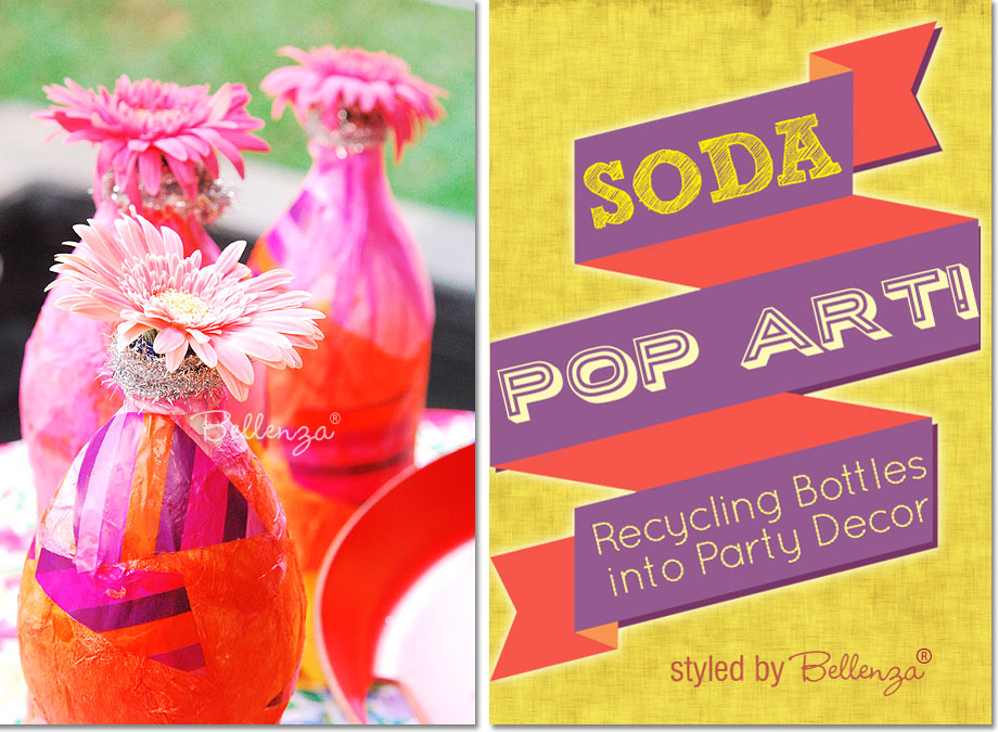 How to turn used soda bottles into color works of art for your party decorations | styled by the Party Suite at Bellenza