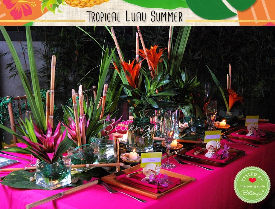 Set a breathtaking tablescape amidst a lush outdoor venue. Choose table linens the color of tropical blooms. Then assemble a stunning centerpiece of palm fronds and hot pink, purple and orange bromeliads, with tropical-inspired place settings awaiting guests.
