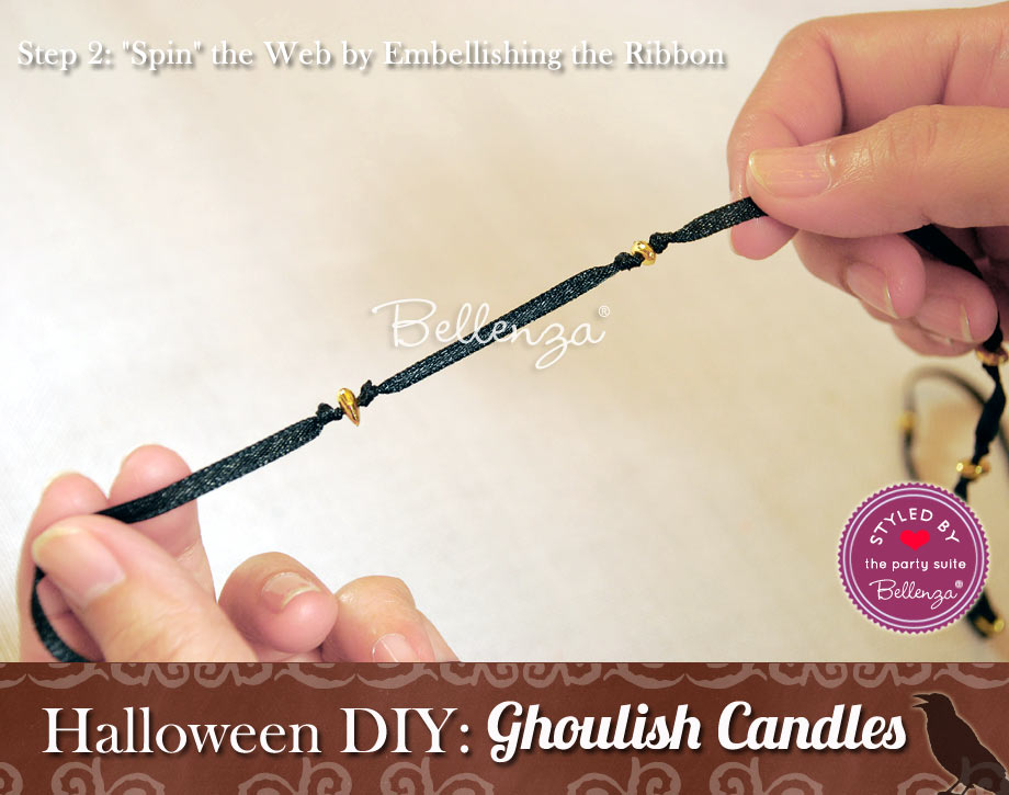 Halloween Candle Favor. Embellish the black ribbon with the gold beads.
