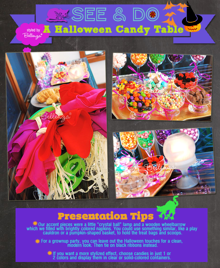 A fun and easy Halloween candy table by the Party Suite at Bellenza.