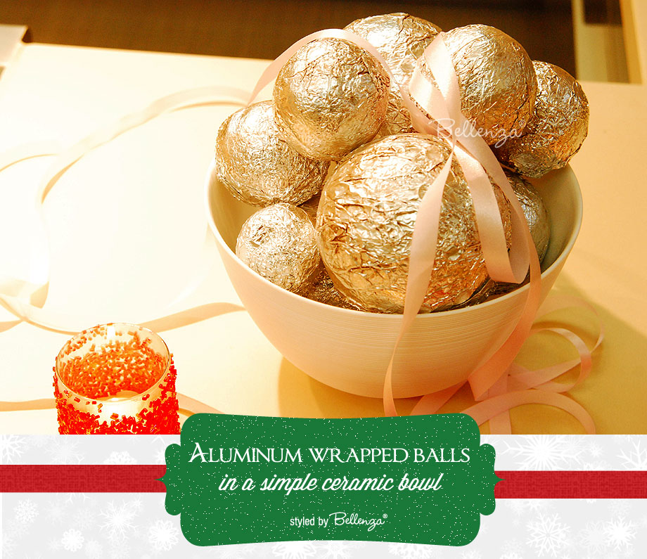 Aluminum balls as easy Christmas centerpieces by Bellenza