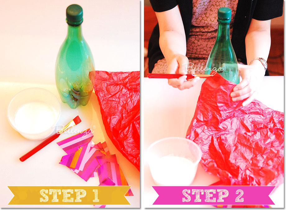 Gather these materials: empty soda or water bottles, scraps of patterned wrapping paper, colored tissue paper, a paintbrush, a bowl of white crafter's glue thinned with water, and clear lacquer or varnish (optional).