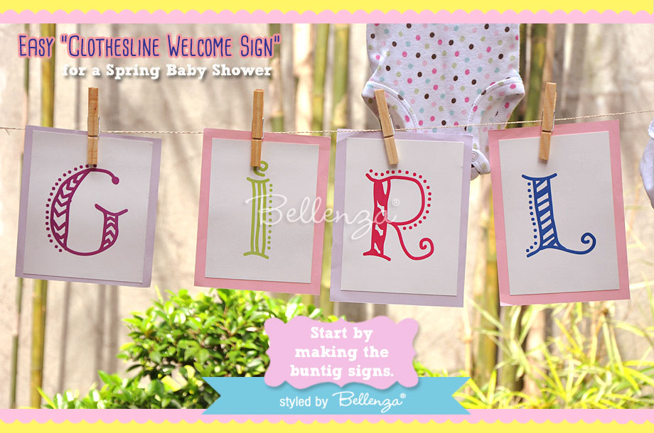 "Card that spell ""girl"" for a diy baby shower welcome sign"