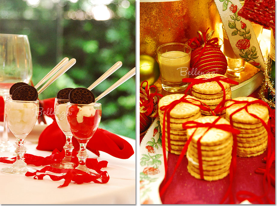 Holiday desserts with red and white decorations