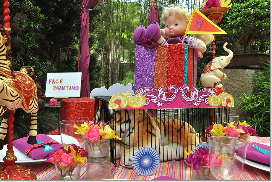 Circus Theme Party Decoration Ideas Part - 49: Circus Themed Centerpiece Cage With Stuffed Animal Tiger