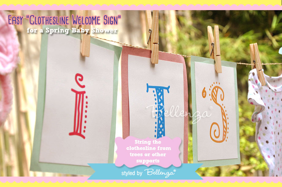 String the clothesline from trees or other supports in your garden or at the entry to your baby shower area.