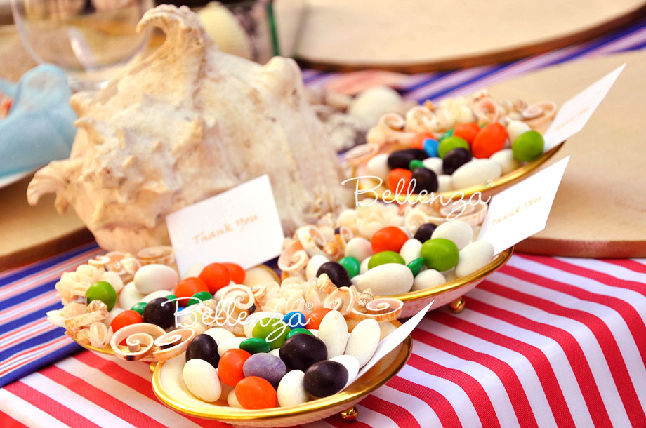 Shell trays with candies for a Puerto Rican American party