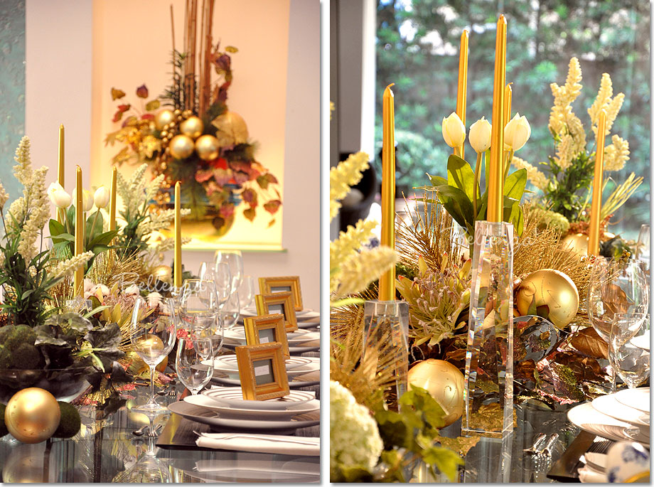 Candles bring instant style to any party table. And for this Christmas centerpiece, gold tapers add height and elegance displayed in sleek glass candlesticks.