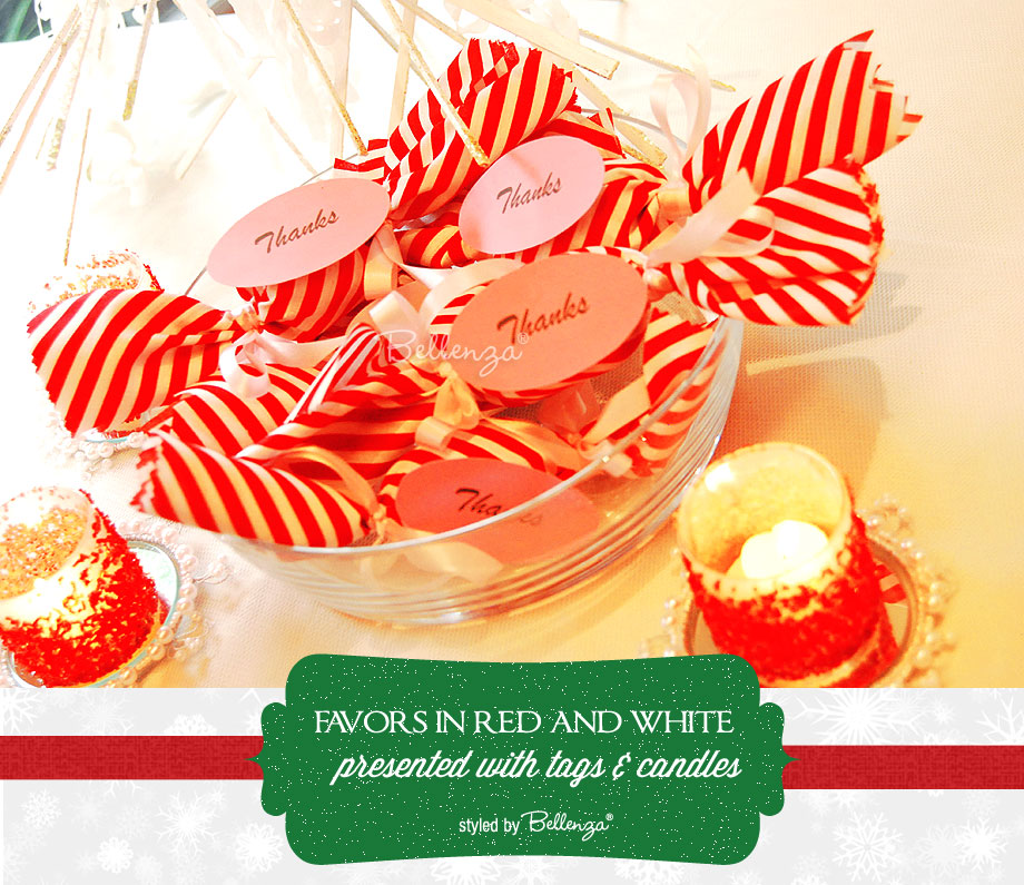 Peppermint candy crackers as holiday centerpieces by Bellenza