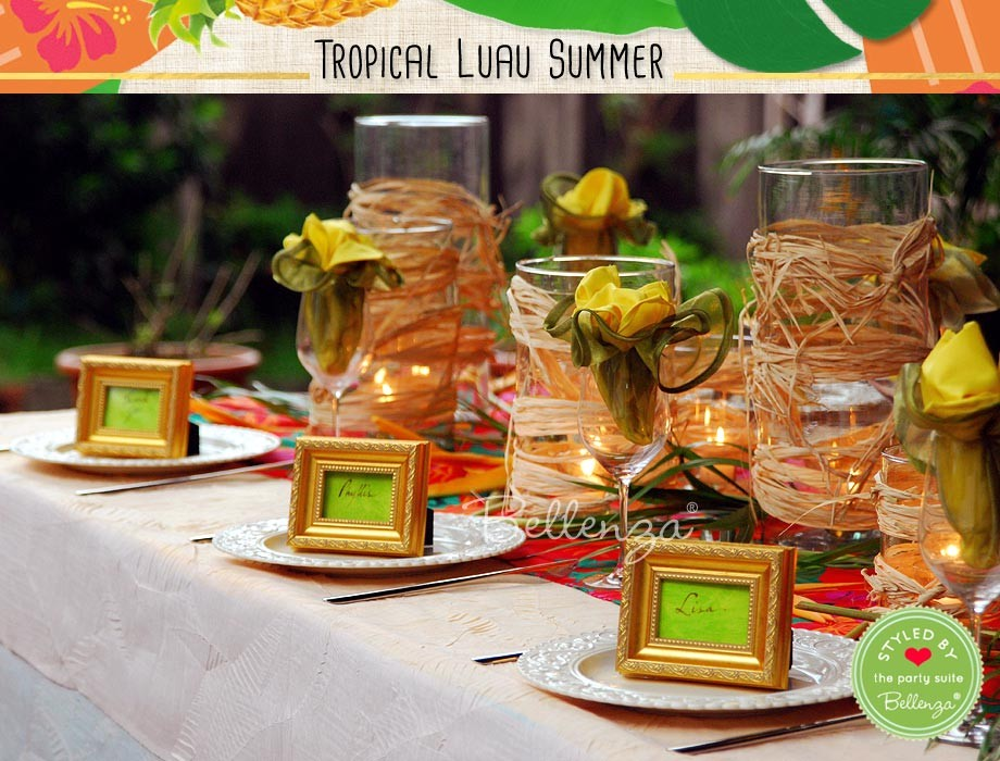 These same cylinders, when grouped in varied sizes down the center of each table, would create an organic style lighted centerpiece. For a touch of tropical glam, use carved gold frames as place card holders and guest favors in one!