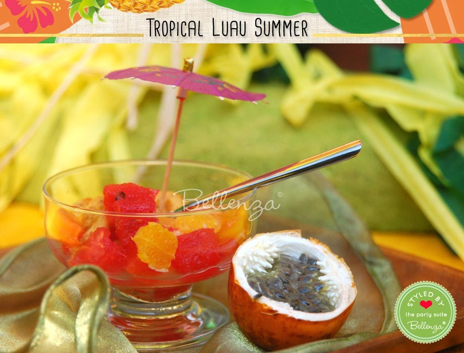 As a cool, refreshing party appetizer, serve fresh fruit tidbits in sorbet bowls trimmed with colorful paper parasols.