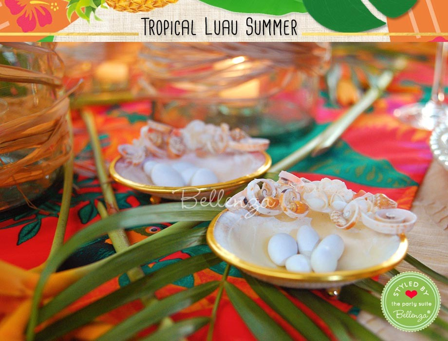 Lovely shell dishes for serving treats at the party and for gifting guests with as favors.