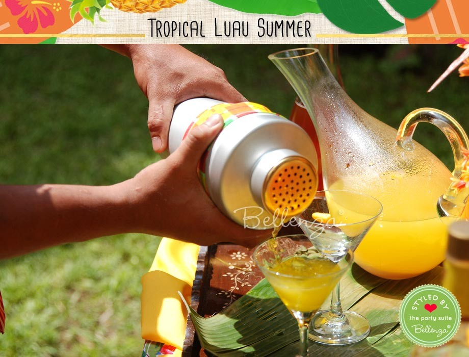 Tropical luau themed cocktails made of pineapple