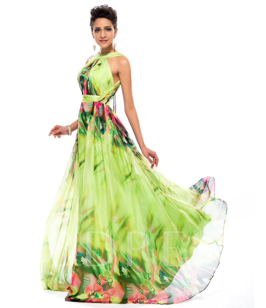 18---Halter-Printed Dress