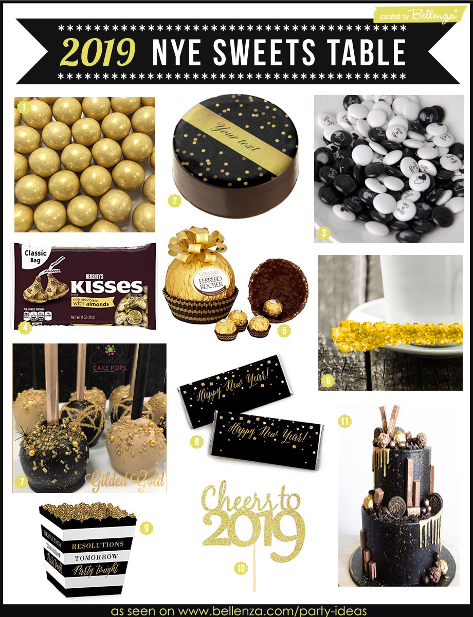 A Black and Gold Candy Table for a NYE 2019 Party!