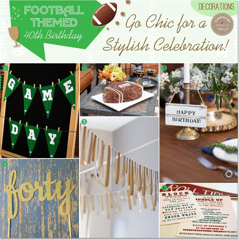 Stylish decorating ideas for a football themed 40th birthday.