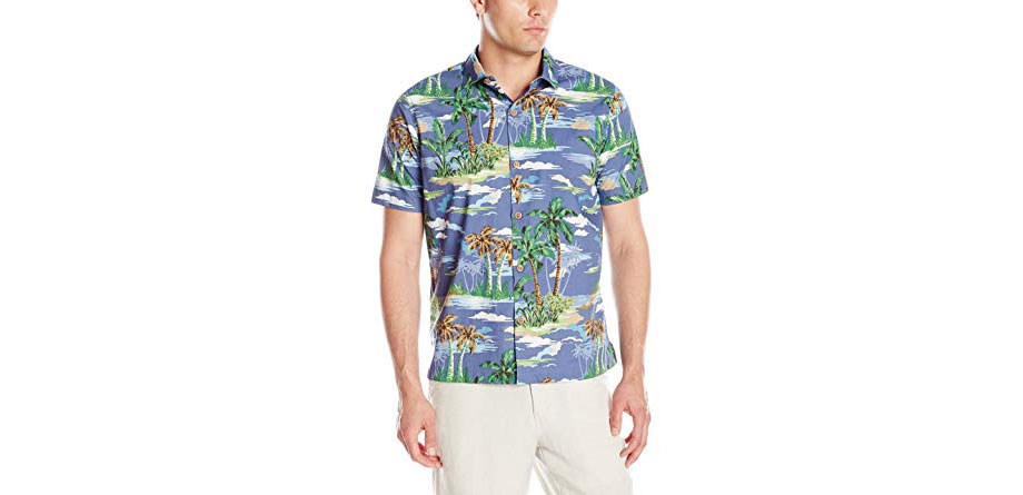 Caribbean Joe Men's Slim Fit Short Sleeve Scenic Palm Printed Cool Cotton Collared Hawaiian Shirt - via Amazon