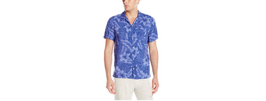 9 - Caribbean Joe Men's Slim Fit Short Sleeve Button Up Tonal Rayon Hawaiian Shirt - via Amazon