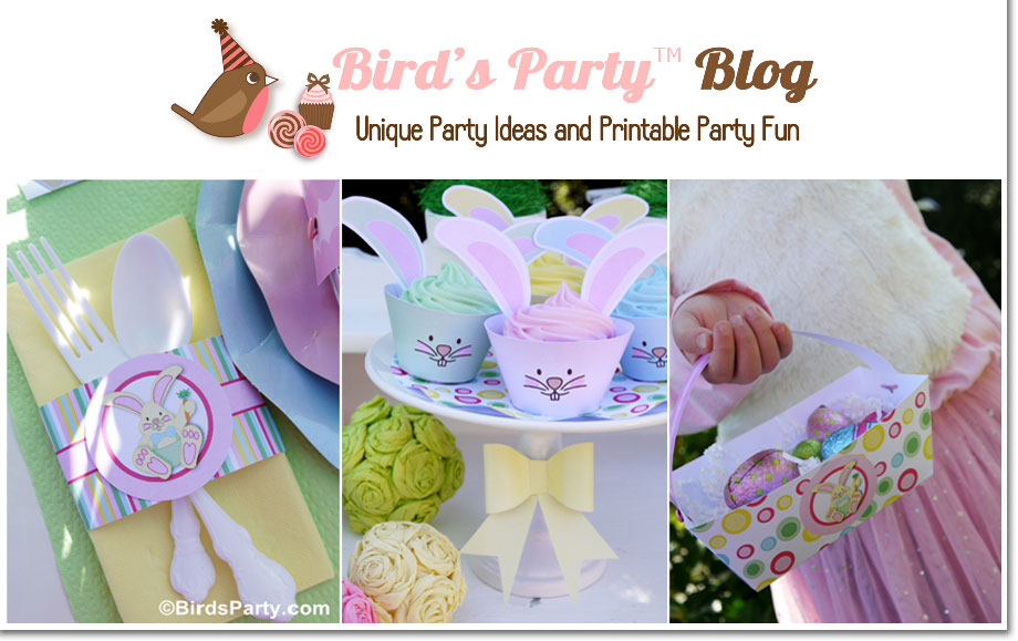Bird's Party Easter Printables collection and Supplies for Easter Egg Hunt