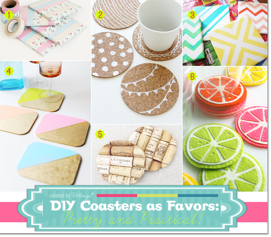 Creative DIY Coasters as Favors Using Cork, Felt, Washi Tape, and Other Materials