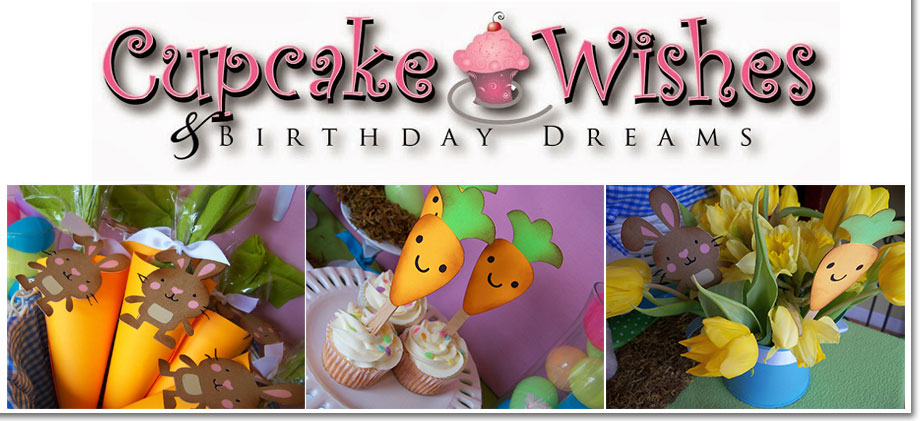 Cupcake Wishes and Birthday Dreams Easter Bunny and Carrot Party Decorations