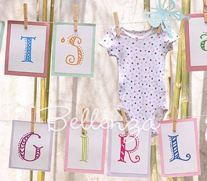 Easy Clothesline Welcome Sign for a Spring Baby Shower
