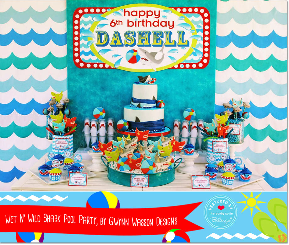 Wet N' Wild Shark Pool Party, by Gwynn Wasson Designs // a Bellenza Featured Party