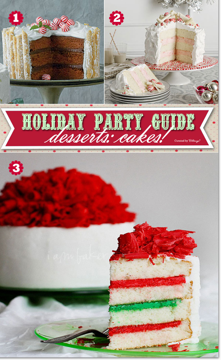 christmas party cakes in red and white and green - Christmas Party Desserts