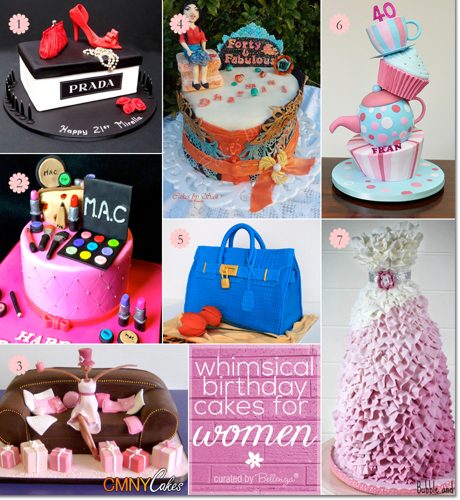 Wacky and Whimsical Birthday Cakes for Women with Themes Inspired by Fashion, Makeup, Food, Hobbies, and Flowers.