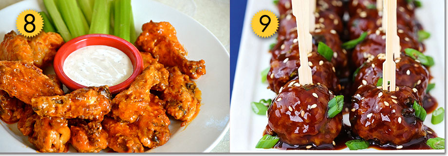 Buffalo wings and meatballs skewers