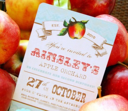 Apple invitation by Bee and Daisy on etsy