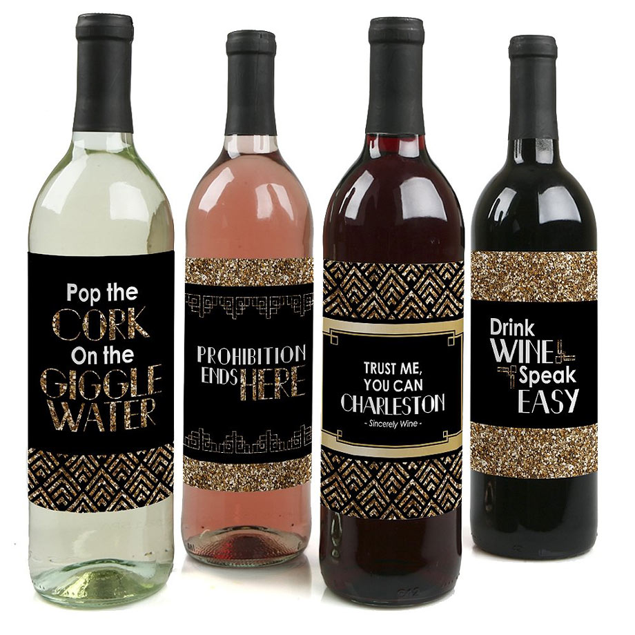 Black and gold wine labels