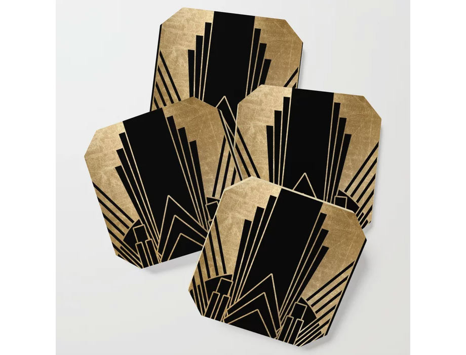 Art deco black and gold coasters