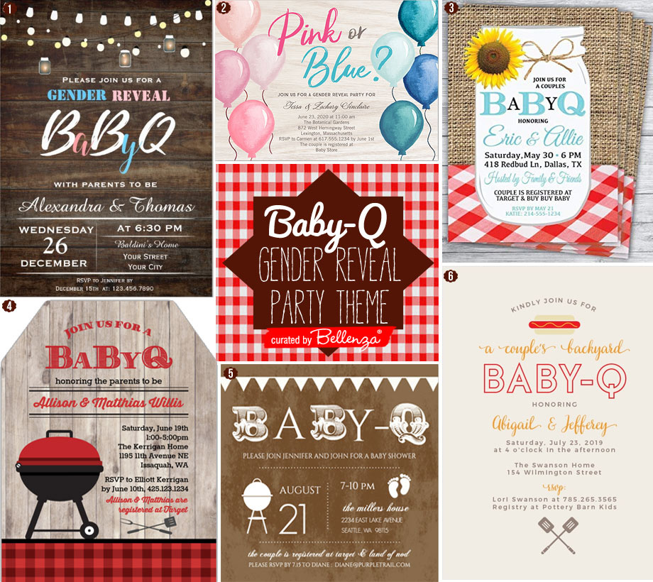 Baby Q Gender Reveal Party Invitations